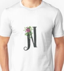 Monogram N with Floral Wreath Unisex T-Shirt