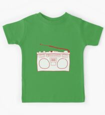 Red Boombox Sketch Kids Tee