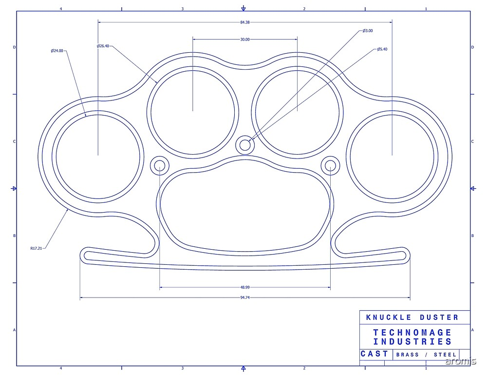 u0026quot knuckle duster blue schematic u0026quot  by aromis