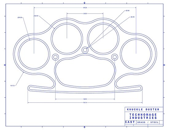 Knuckle Duster Blue Schematic Posters By Aromis Redbubble