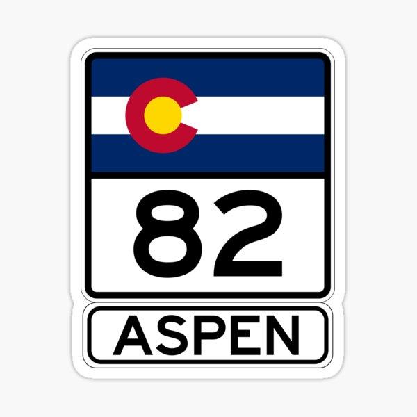 CO-82 - Aspen, Aspen Road Sign, Colorado 82 Aspen  Sticker