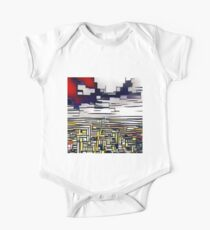 Abstract art,Mondrian,deep blue,red,white,black,yellow One Piece - Short Sleeve