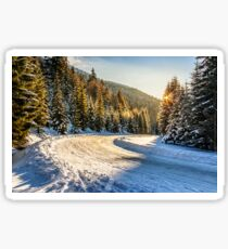 snowy road through spruce forest in mountains Sticker