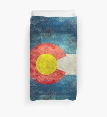 Colorado State Flag with vintage retro style treatment Duvet Cover