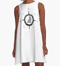 Sailboat And Compass Rose A-Line Dress