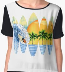 Surfer And Surfboards Women's Chiffon Top