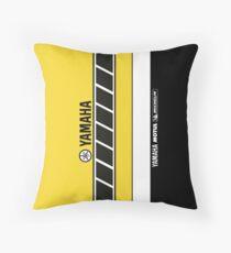 Team Yamaha Black and Yellow Throw Pillow