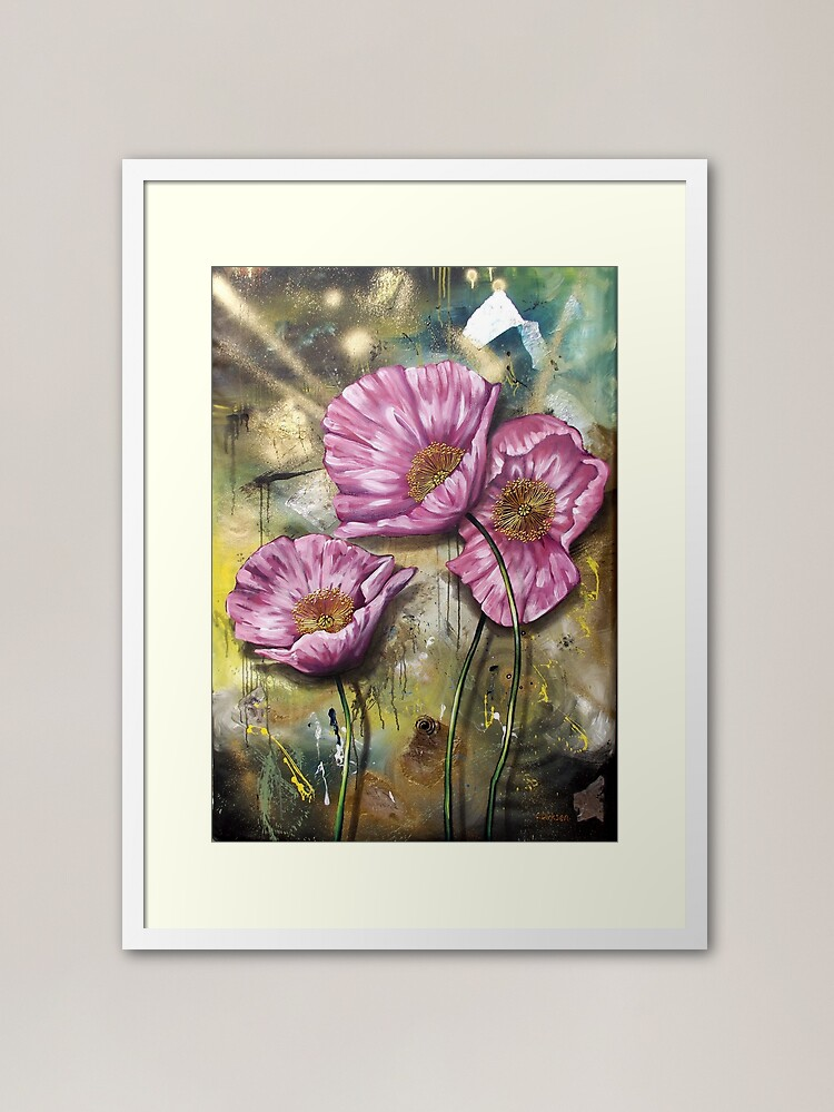Alternate view of Pink Poppies (Finding Beauty in Chaos series) Framed Art Print
