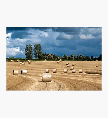 Hay Bales & Storm Clouds Photographic Print