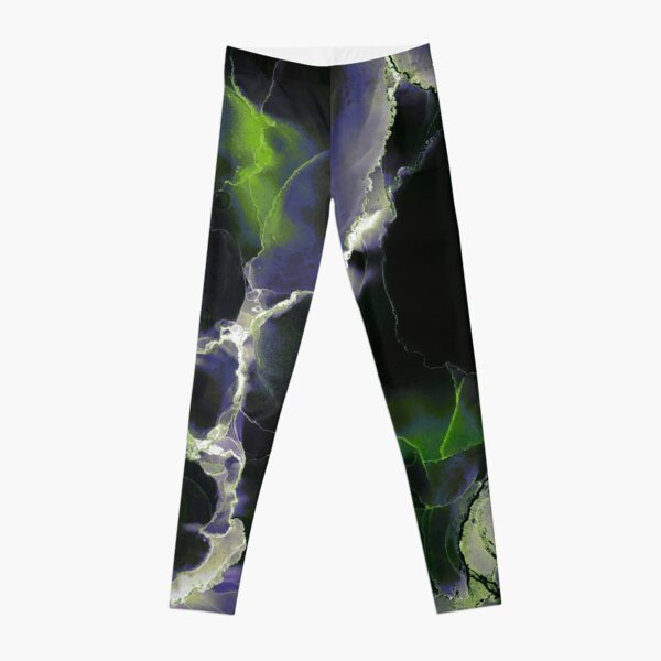 minimalist abstract in white blue & green on black Leggings