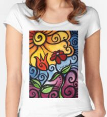Colorful Summer Sun Flowers Women's Fitted Scoop T-Shirt