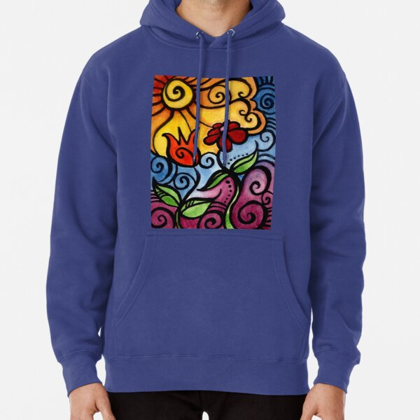 Colorful Summer Sun Flowers Pullover Hoodie