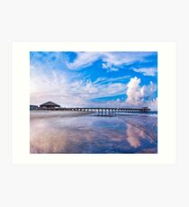 Tybee Island Beach And Pier On a Beautiful Day Art Print