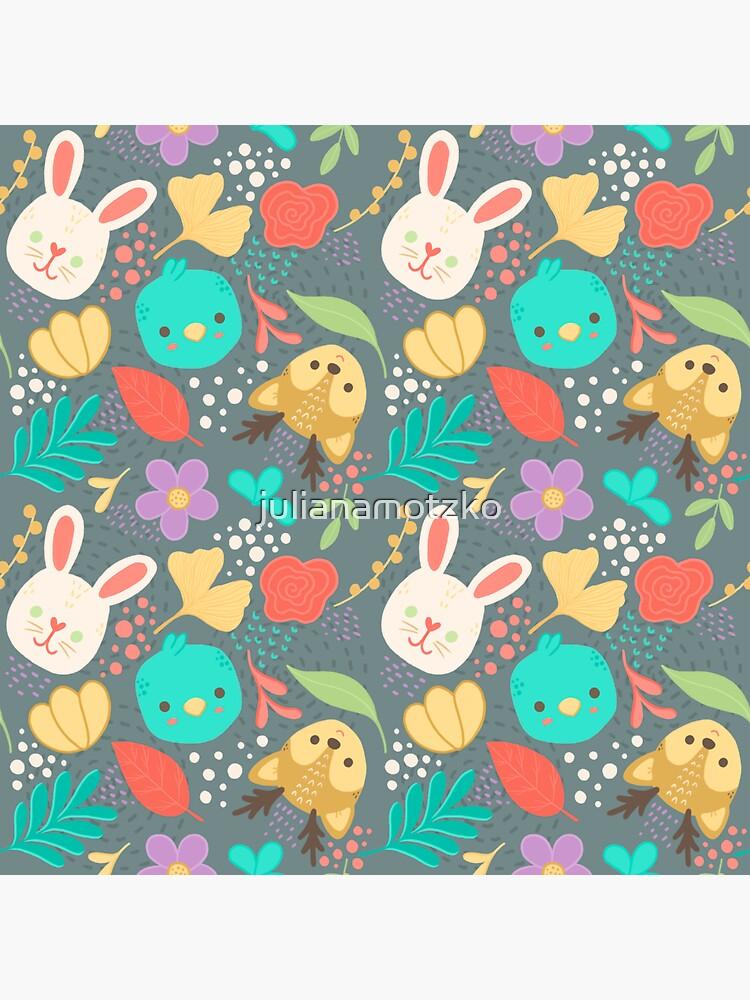 Cute Woodland Animals Spring Pattern by julianamotzko