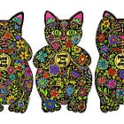 Three Wise Lucky Black Cats  by ArtHarmony