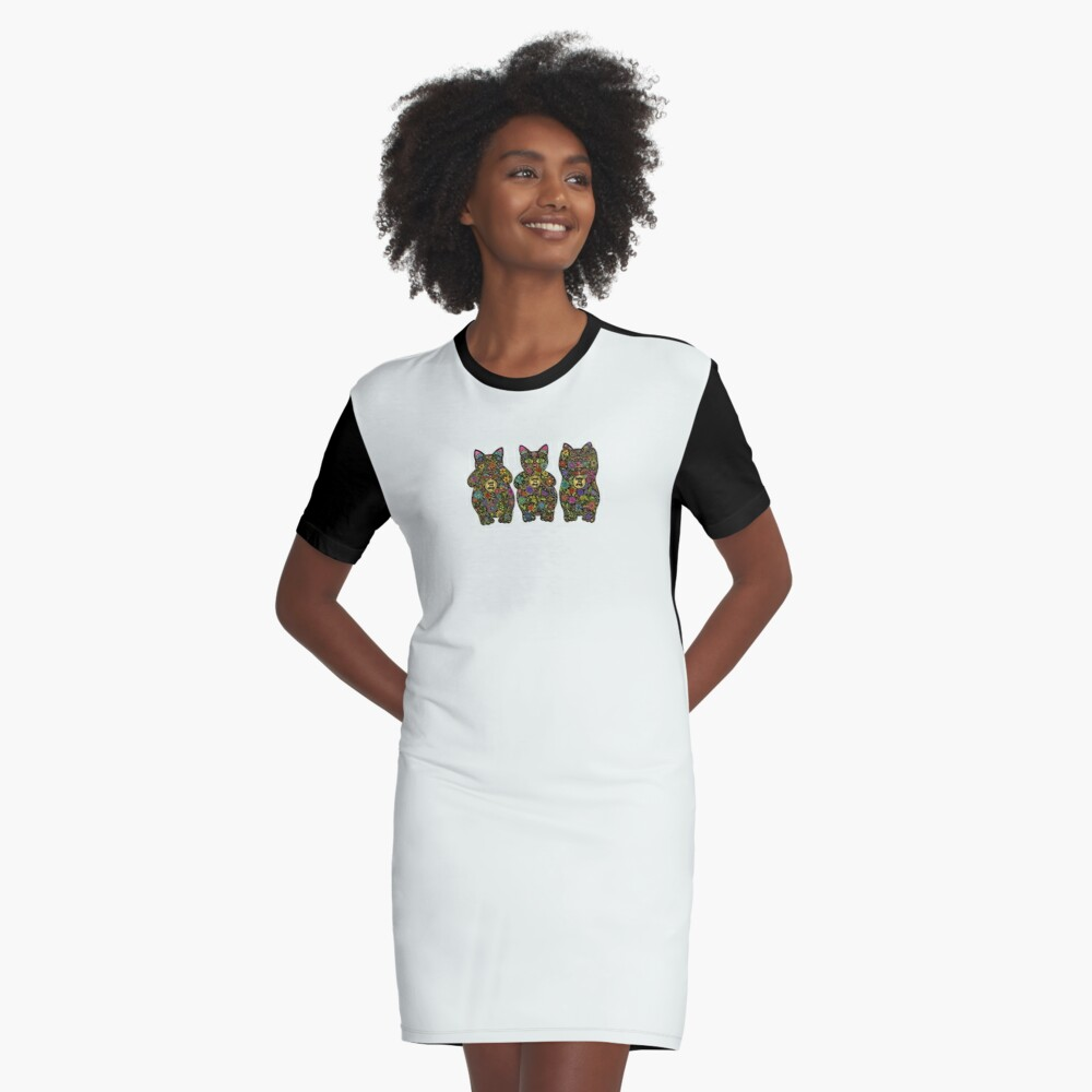 Three Wise Lucky Black Cats  Graphic T-Shirt Dress Front