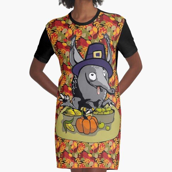 Thanksgiving armadillo pilgrim hat cute quirky cartoon leaves Graphic T-Shirt Dress