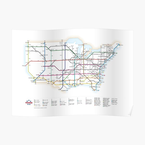 U.S. Interstate Highways as a Subway Map Poster