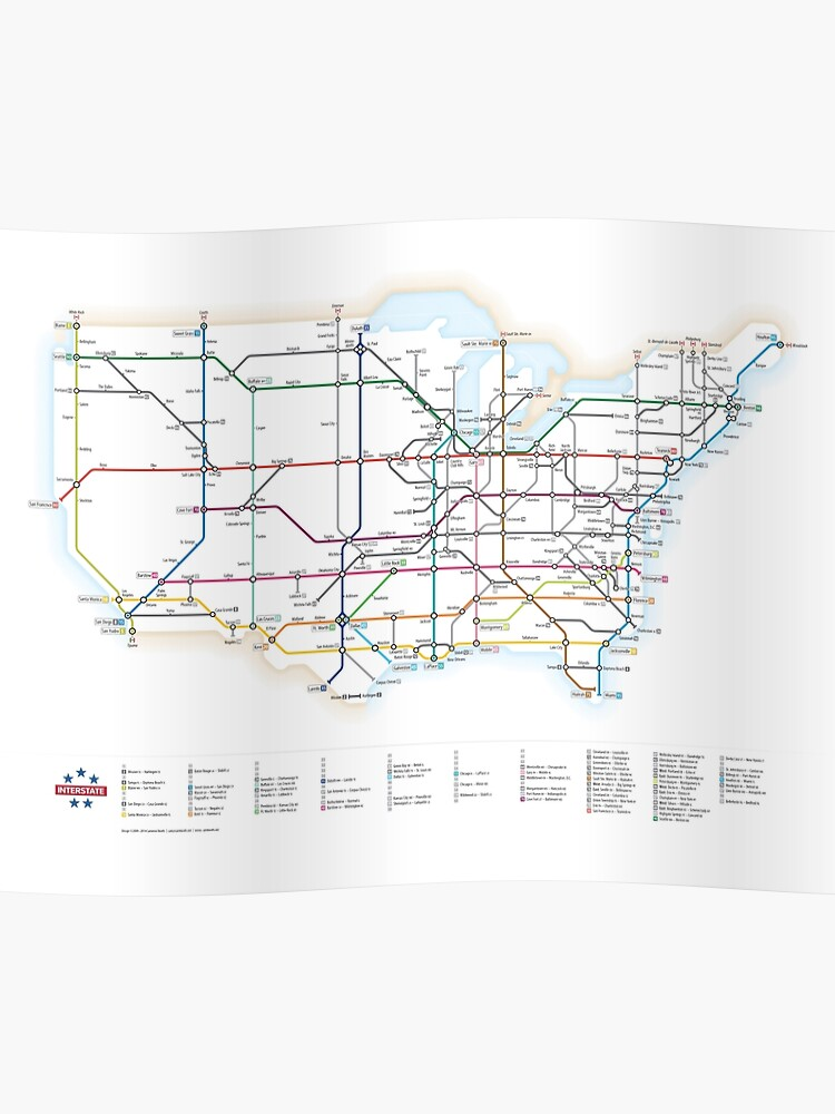 Us Interstate Highways As A Subway Map Poster By Chaosboy Redbubble - Map-of-interstate-highways-in-us