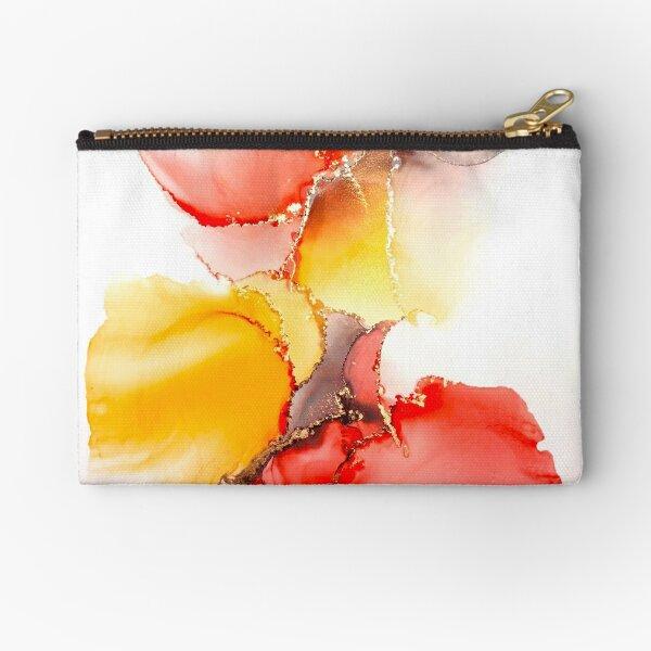 Vibrant abstract orange & red swirls Zipper Pouch