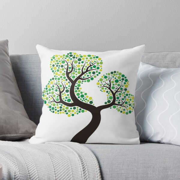 Colorful tree, coloring art Throw Pillow