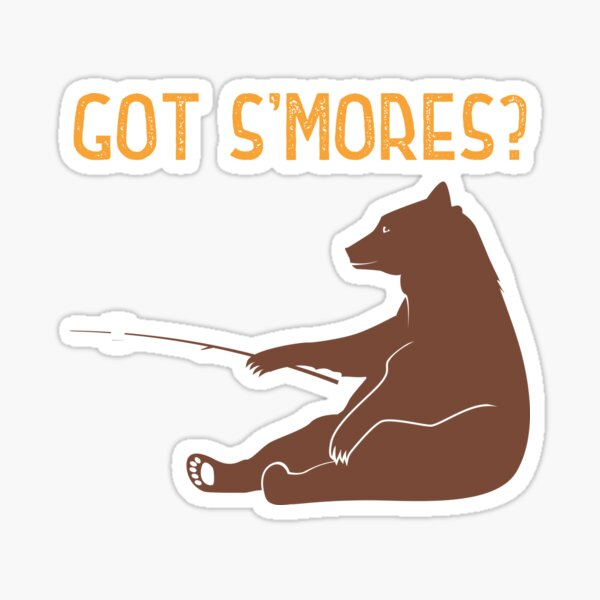 Got Smores Brown Bear With Marshmallow Sticker