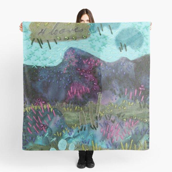 Stitched Mountains Textile Landscape Scarf