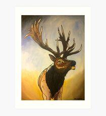 """""""Incredi - Bull"""" - Elk Painting Art Print"""
