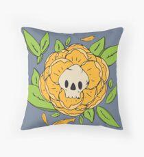 Skull Garden: Skull Peony Throw Pillow