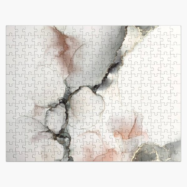 Black white gold & copper abstract Jigsaw Puzzle