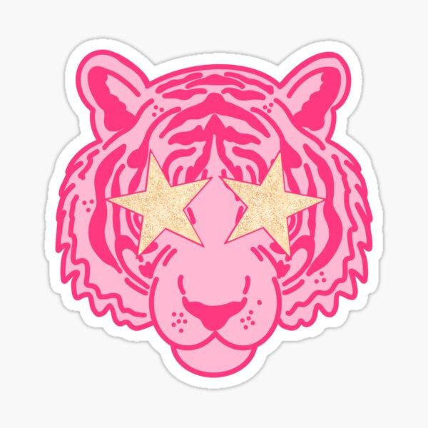 Pink Star Eye Tiger Face Sticker