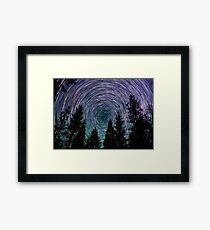 Polaris Star Trails Over Forest in King's Canyon  Framed Print