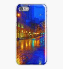 Seattle Street Evening Rain  iPhone Case/Skin