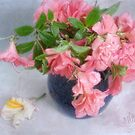Pink Azaleas in a Blue Vase by LouiseK