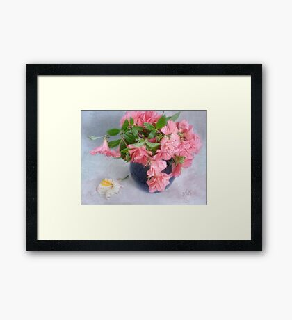 Pink Azaleas in a Blue Vase Framed Print
