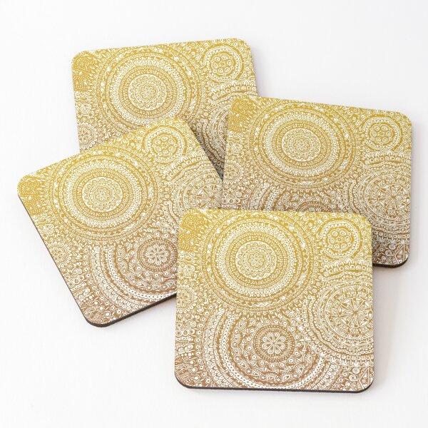 Zentangle/Mandala Pen Design (Yellow/Orange ver.) Coasters (Set of 4)