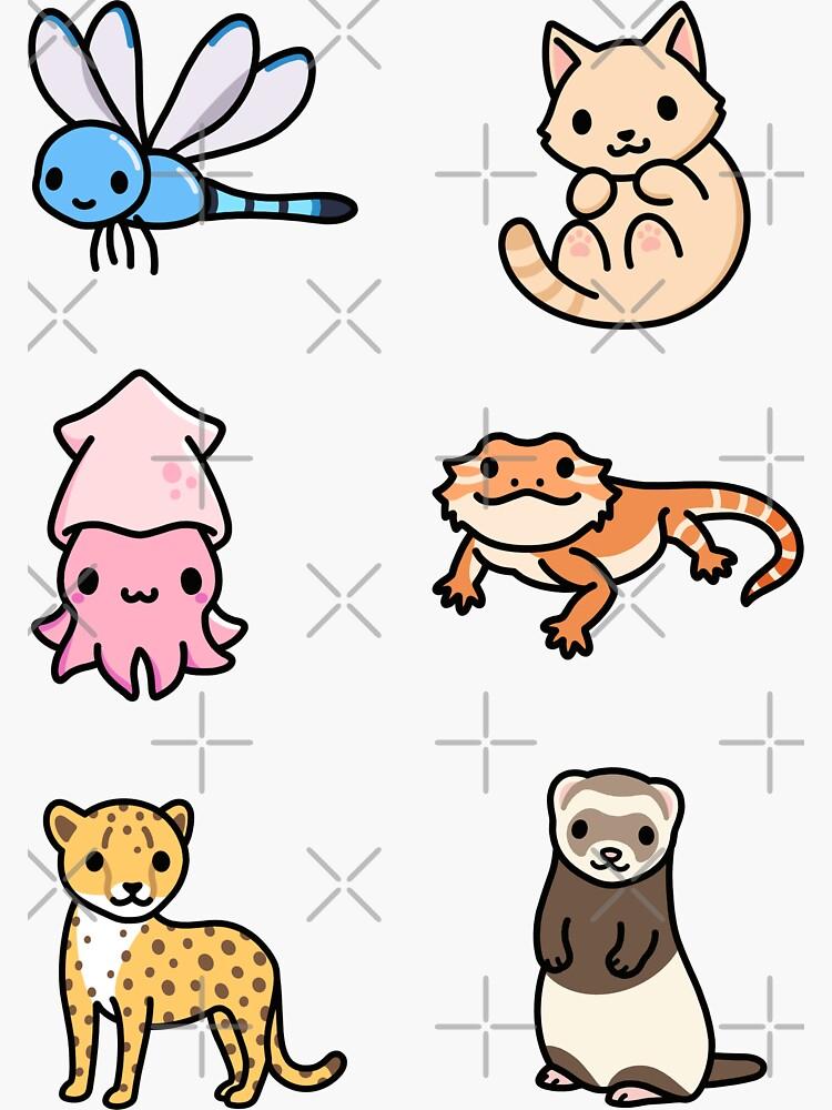 Cute Animal Sticker Pack 14 by littlemandyart