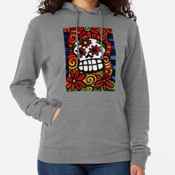 Flower Eyed Day of the Dead Sugar Skull Lightweight Hoodie