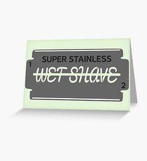 Wet Shave Razor Blade Greeting Card