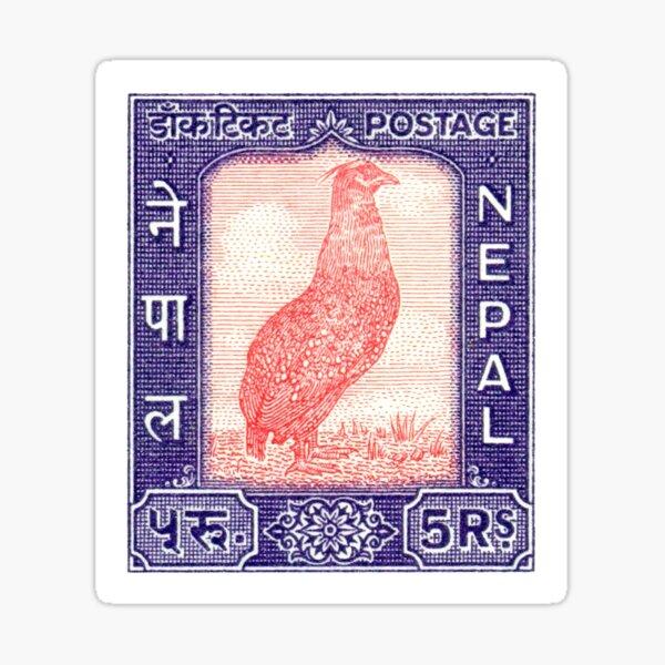 1960 Nepal Satyr Tragopan Postage Stamp Sticker