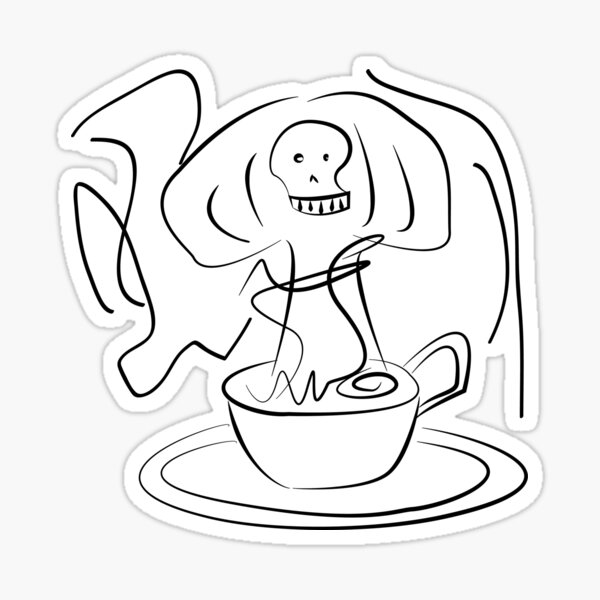 Strong Coffee or Tea Cup Sticker
