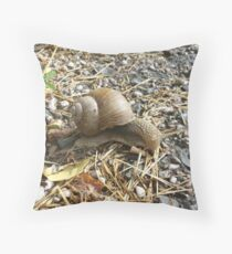 Little snail on the road. Throw Pillow