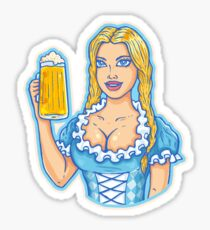 Girl with beer mug  Sticker