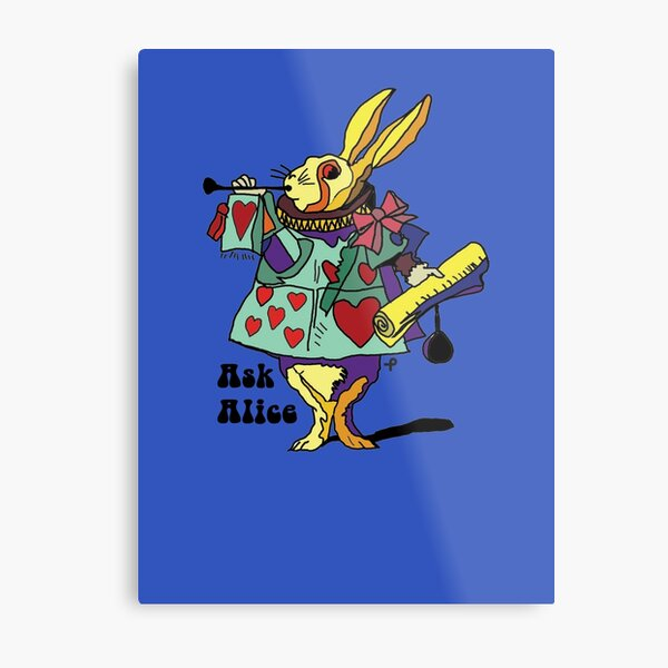 Ask Alice - The White Rabbit 2 - Alices Adventures in Wonderland Metal Print