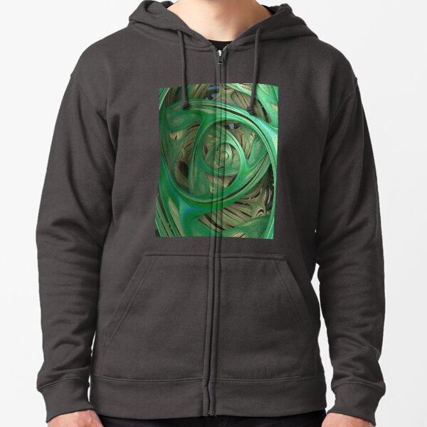 Green Spiral Fractal Zipped Hoodie
