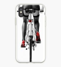 Sexy woman in red high heel shoes and stockings riding bicycle art photo print iPhone Case