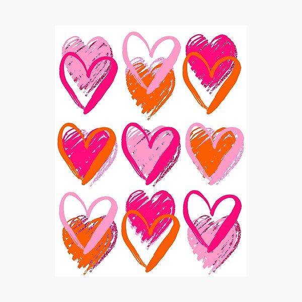 pink and orange hearts Photographic Print