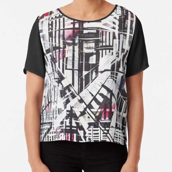 Lines Black and Red Chiffon Top