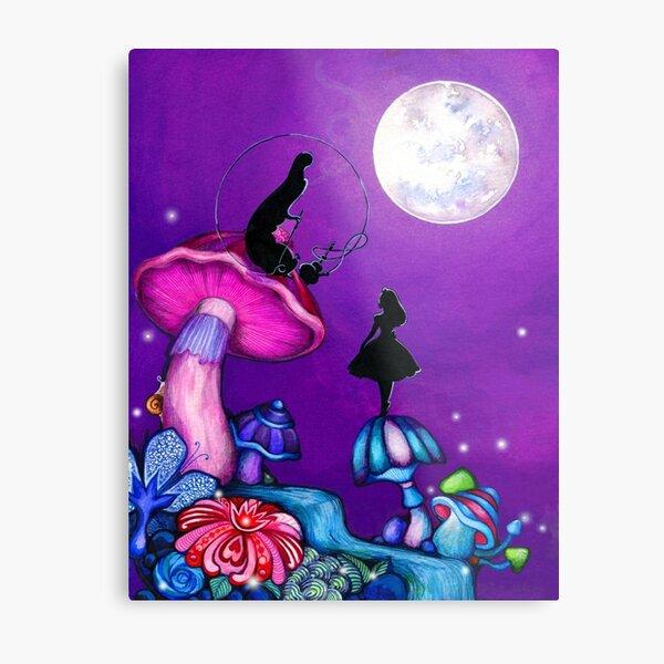 Alice in Wonderland and Caterpillar Metal Print