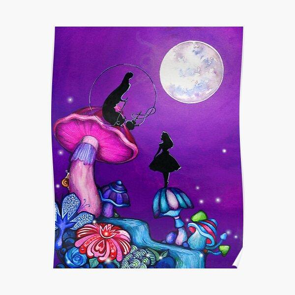 Alice in Wonderland and Caterpillar Poster